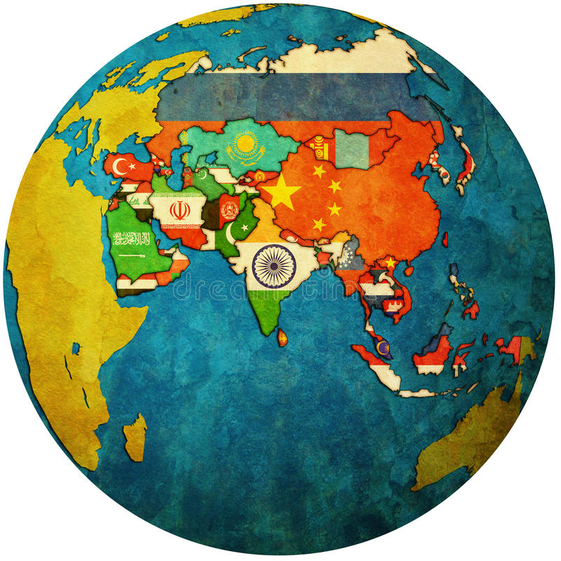 Mapa político de Ásia no mapa do globo imagens de stock royalty free