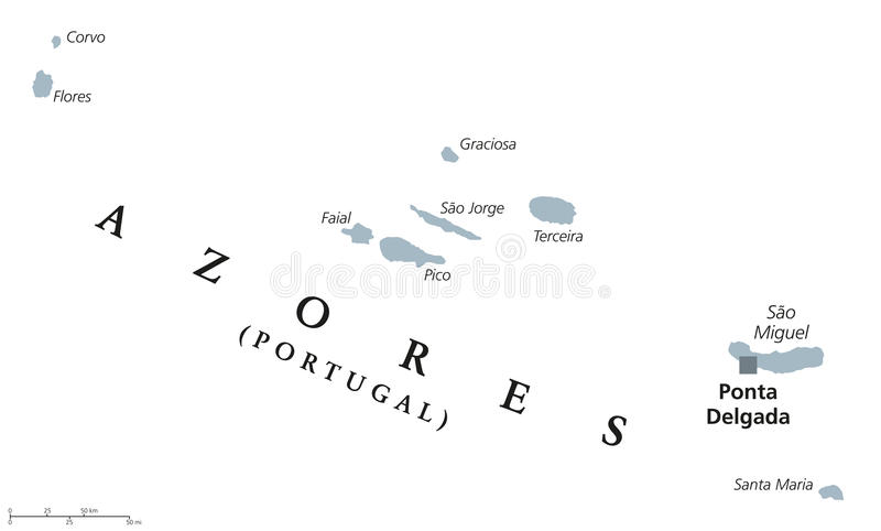 Mapa político de Açores ilustração do vetor