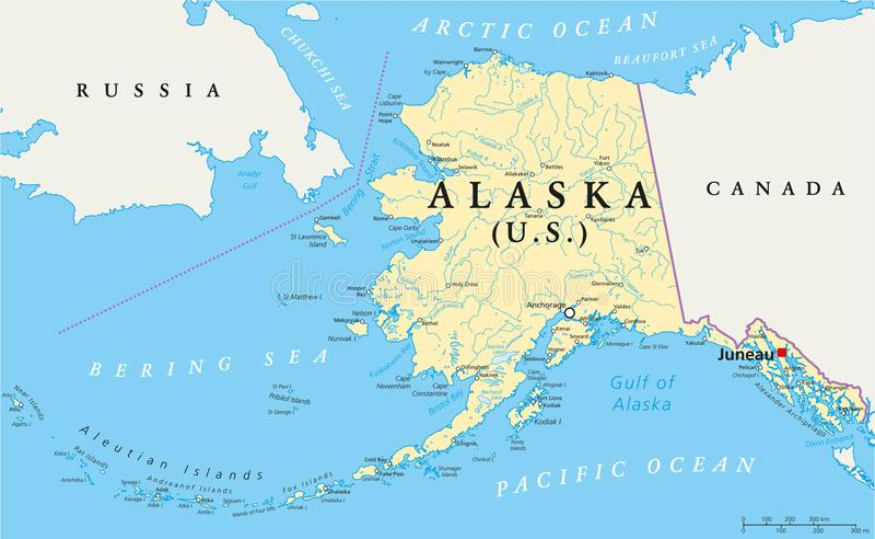 Mapa político de Alaska ilustração stock