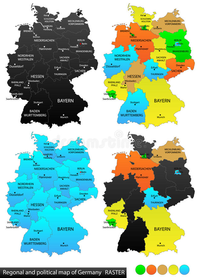 Mapa político de Alemanha ilustração stock