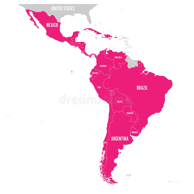 Mapa político de América latina El rosa latinoamericano de los estados destacó en el mapa de Suramérica, America Central y stock de ilustración