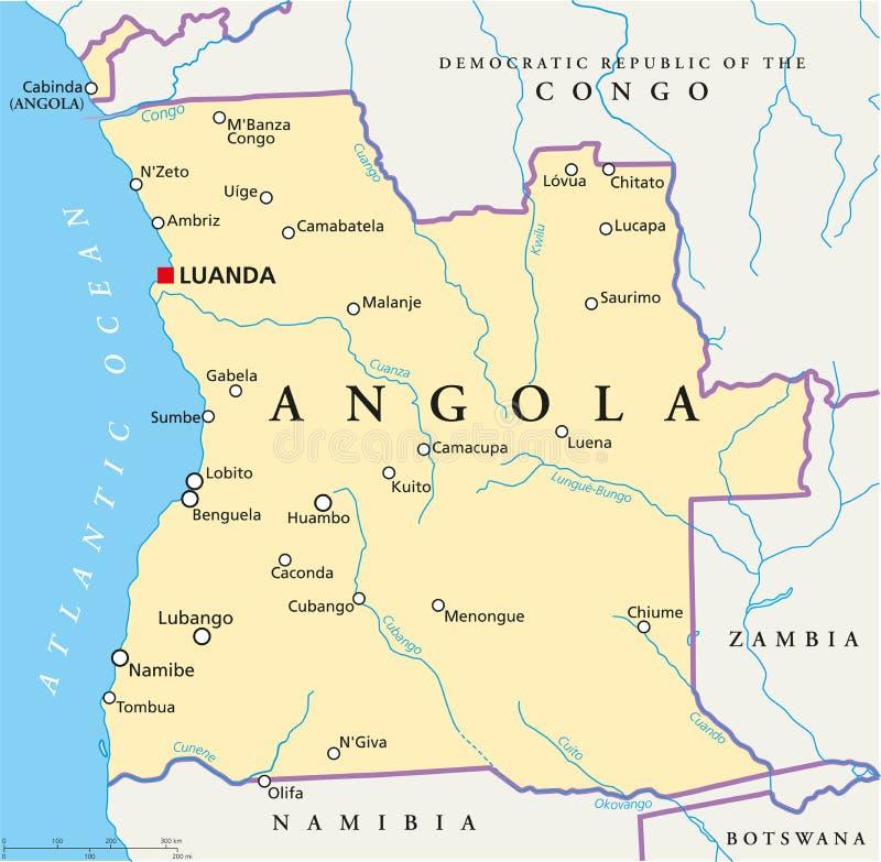 Mapa político de Angola ilustração royalty free