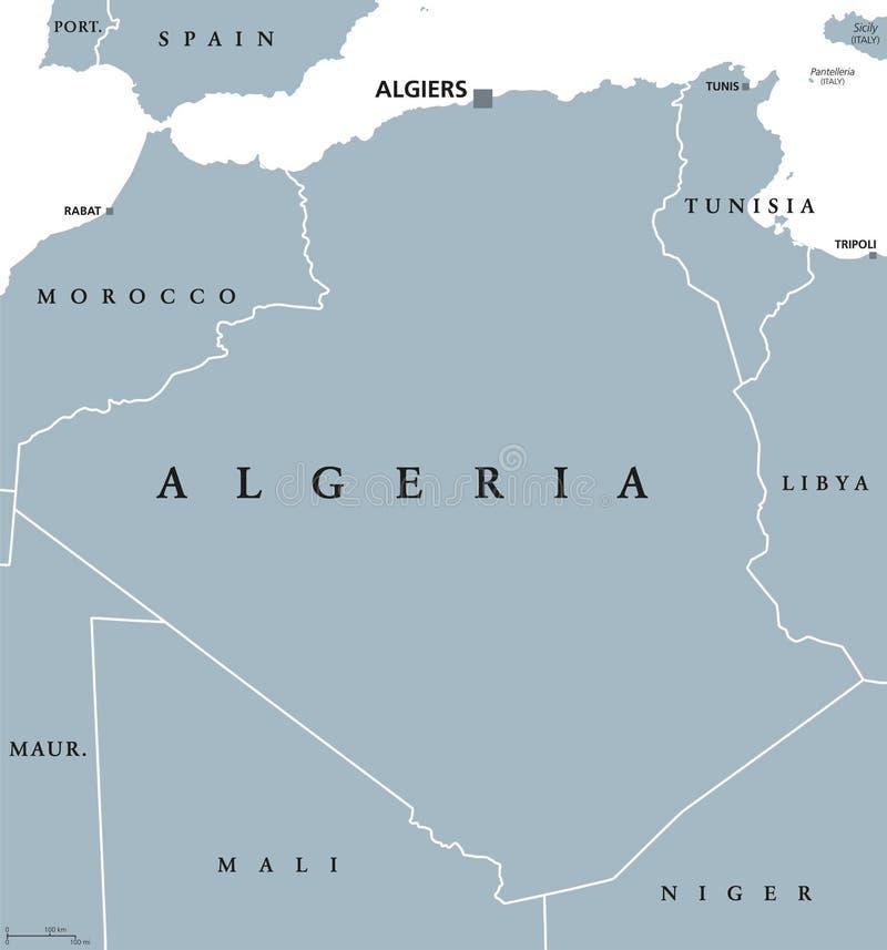 Mapa político de Argélia ilustração stock