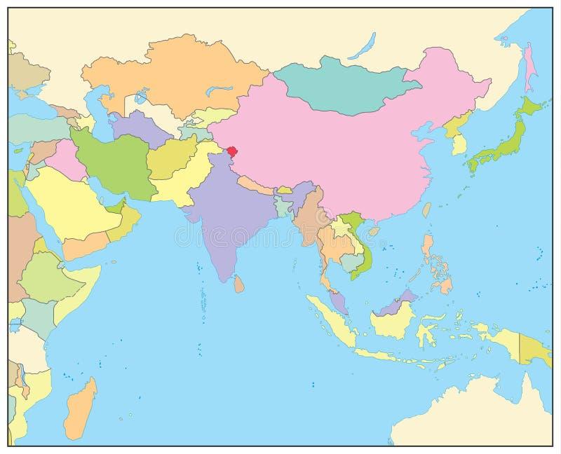 Mapa político de Asia del Sur NINGÚN texto libre illustration