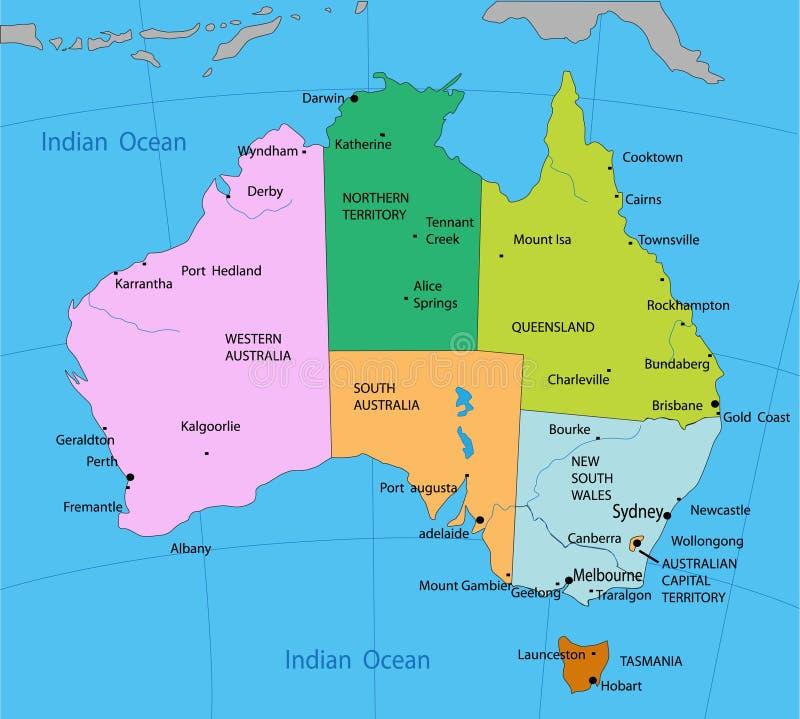 Mapa político de Austrália ilustração stock
