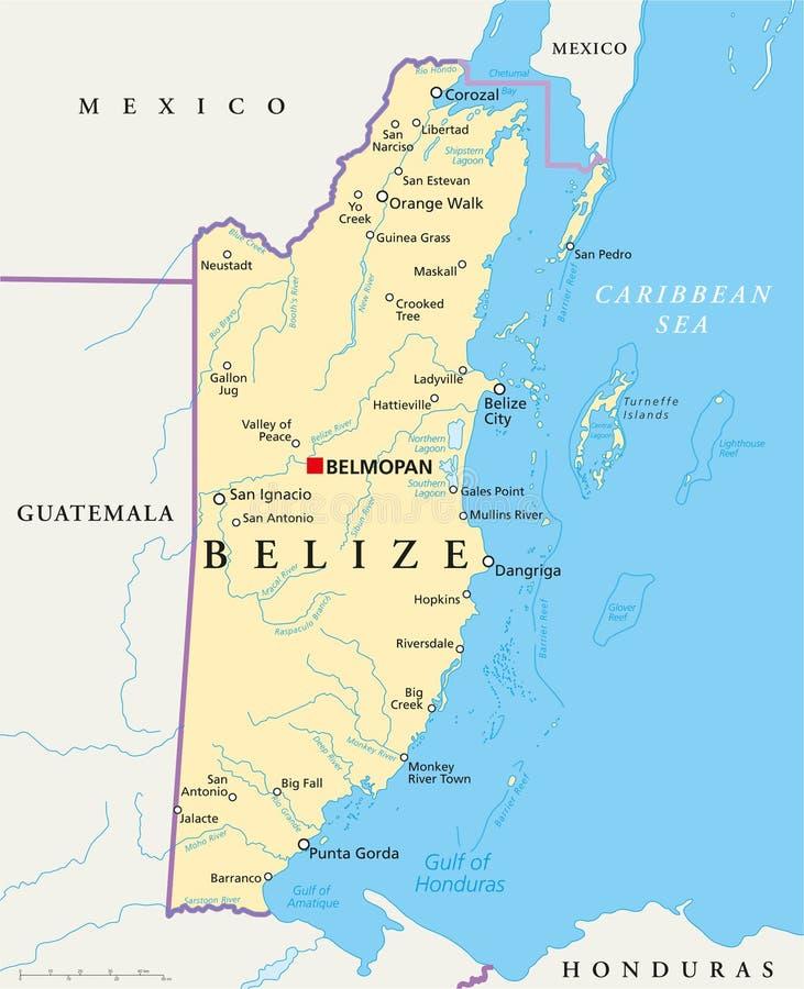 Mapa político de Belize ilustração royalty free