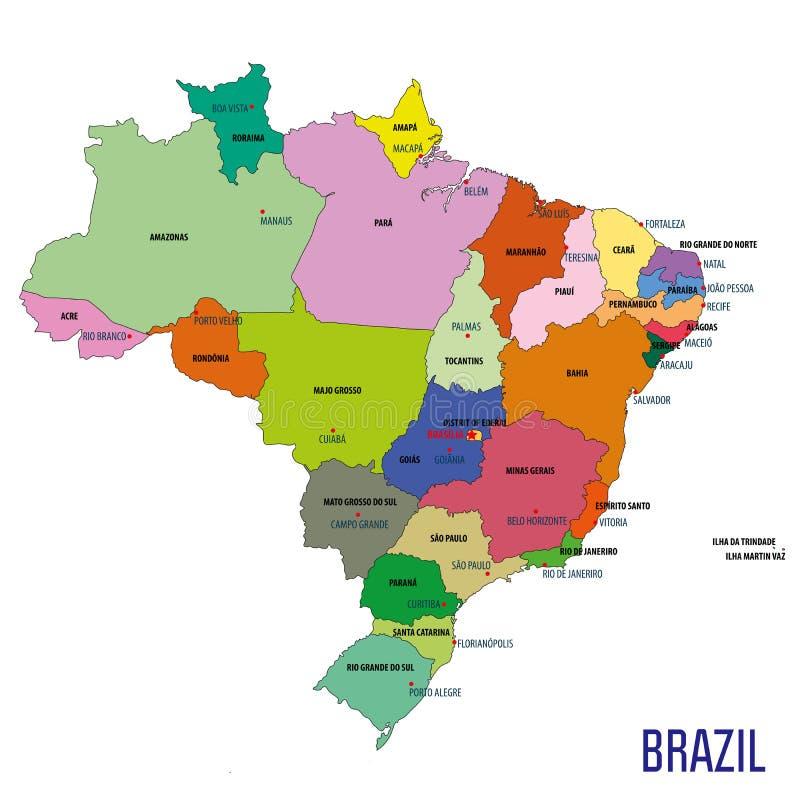 Mapa político de Brasil ilustração stock