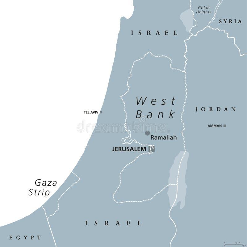 Mapa político de Cisjordania y de la Franja de Gaza  ilustración del vector