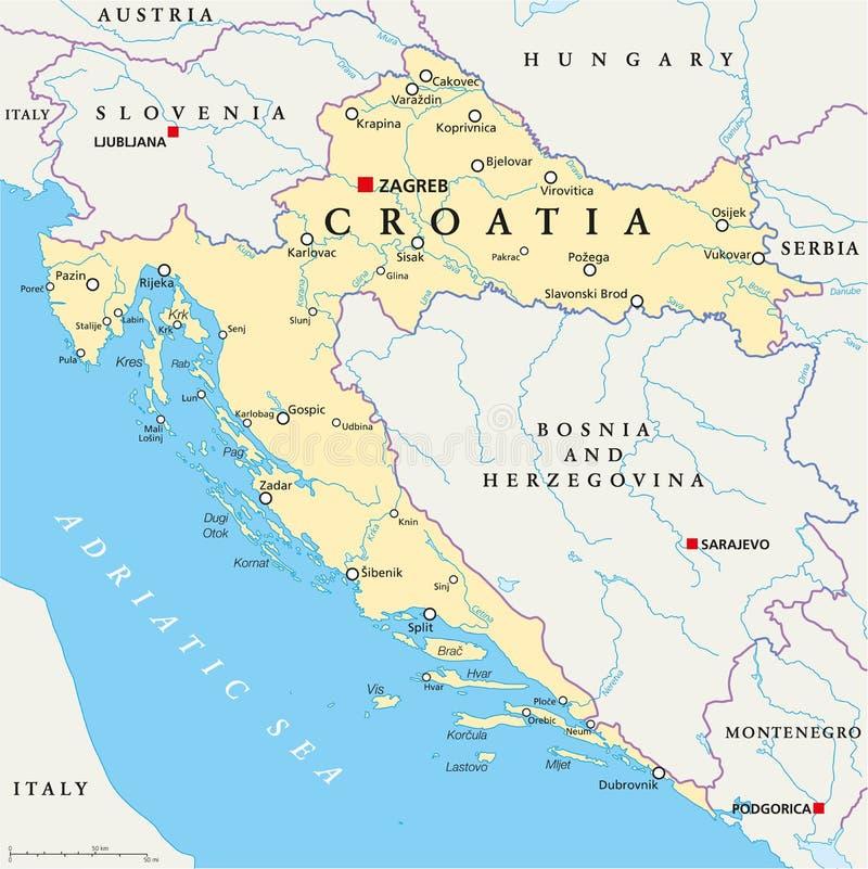 Mapa político de Croatia ilustração royalty free