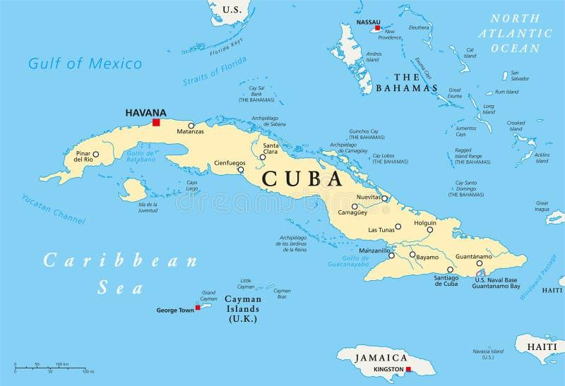 Mapa político de Cuba ilustração stock