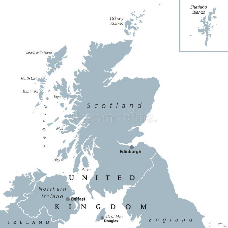 Mapa político de Escocia ilustración del vector