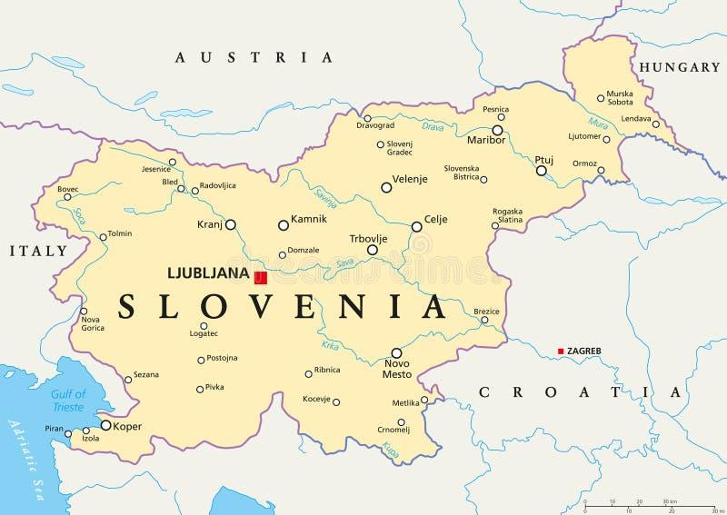 eslovenia mapa Mapa político de Eslovenia ilustración del vector. Ilustración de  eslovenia mapa