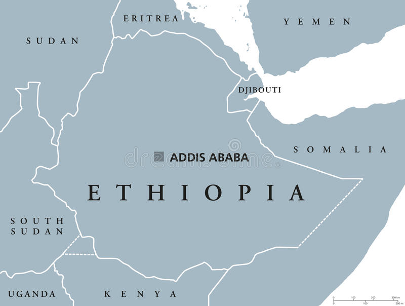 Mapa político de Etiopía ilustración del vector