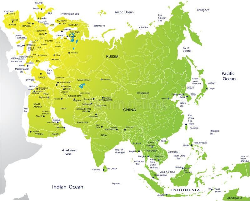 Mapa político de Eurasia ilustração royalty free