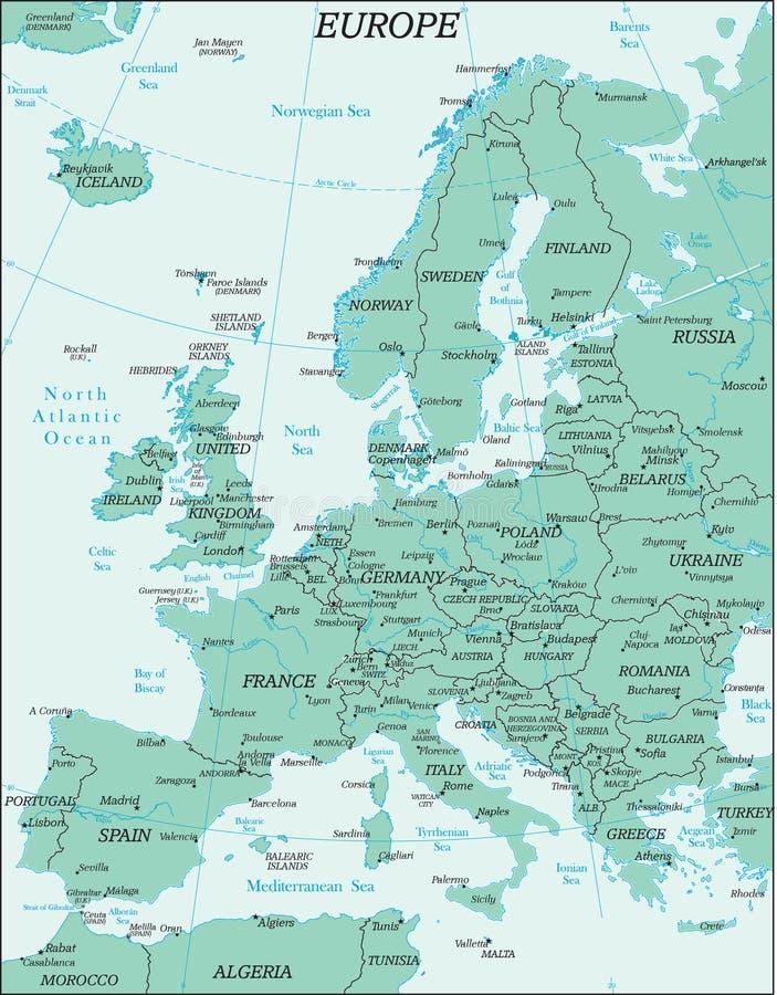 Mapa político de Europa ilustração do vetor