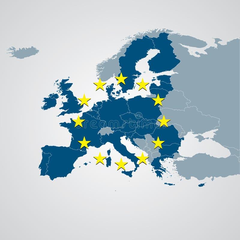 Mapa político de Europa ilustração stock