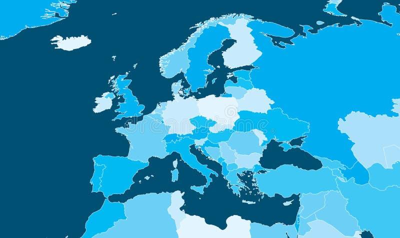 Mapa político de Europa stock de ilustración