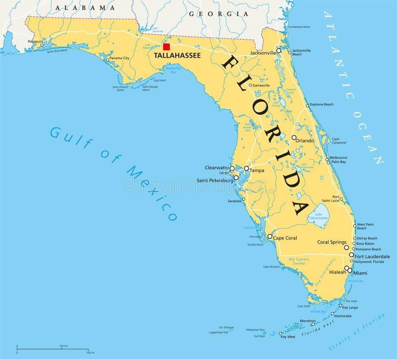 Mapa político de Florida ilustração royalty free