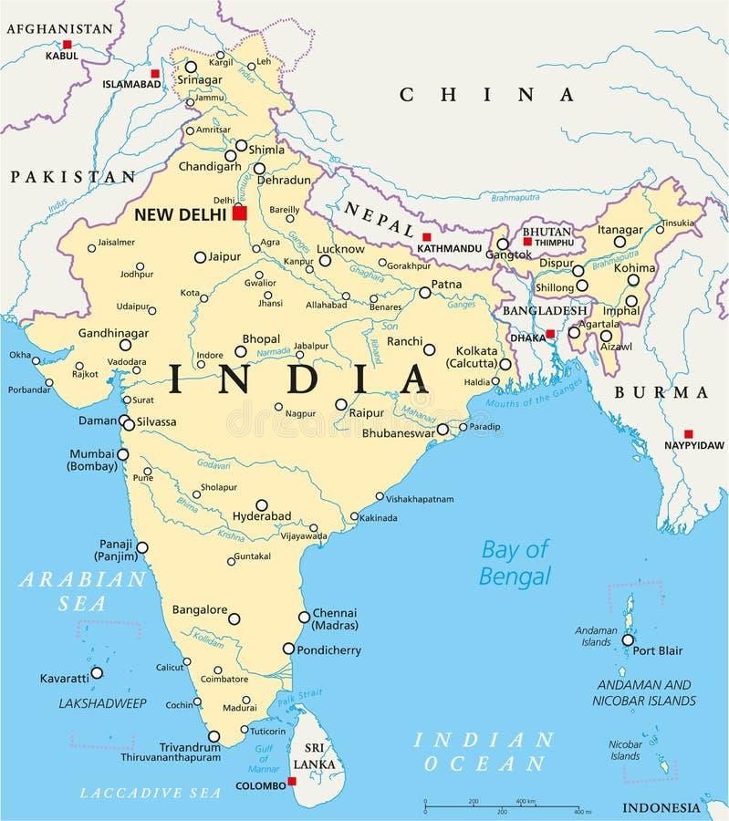 Rio Ganges Mapa Fisico.Mapa Da India Com Rios E Lagos Ilustracao Do Vetor