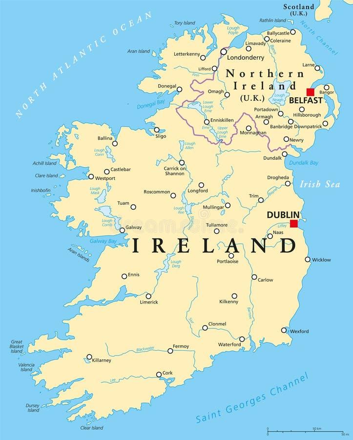 Mapa Irlanda Del Norte.Mapa Politico De Irlanda Y De Irlanda Del Norte Ilustracion