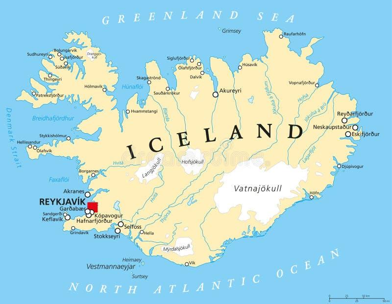 Mapa político de Islandia stock de ilustración