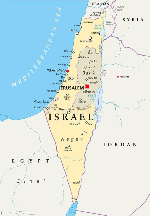 Mapa político de Israel ilustração stock