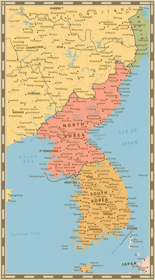 Mapa político de la península de Corea, mapa del color del vintage de Nort libre illustration