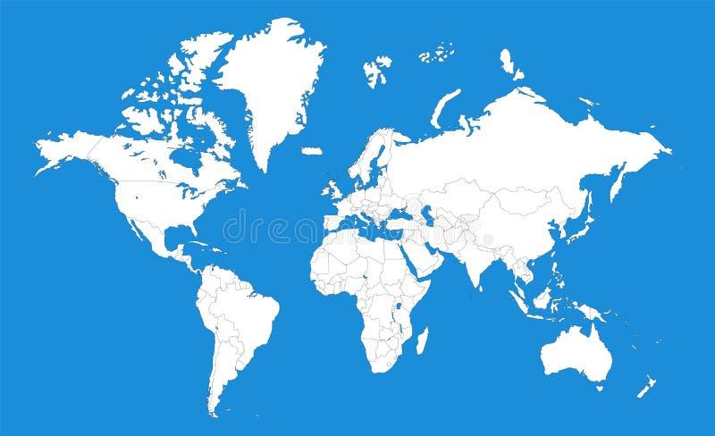 Mapa político de la plantilla del mundo stock de ilustración