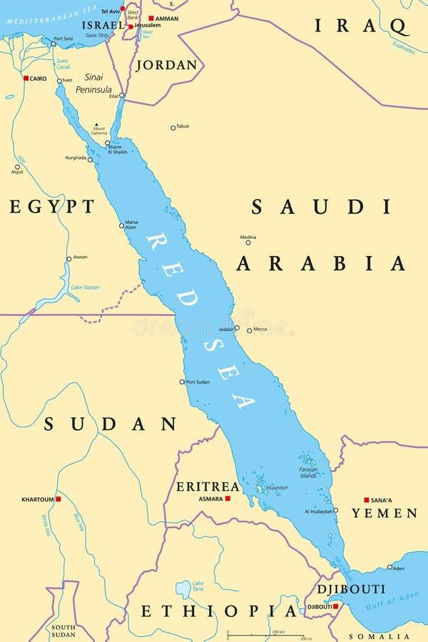 Canal De Suez Mapa Fisico Africa.Mapa Politico Del Canal De Suez Ilustracion Del Vector