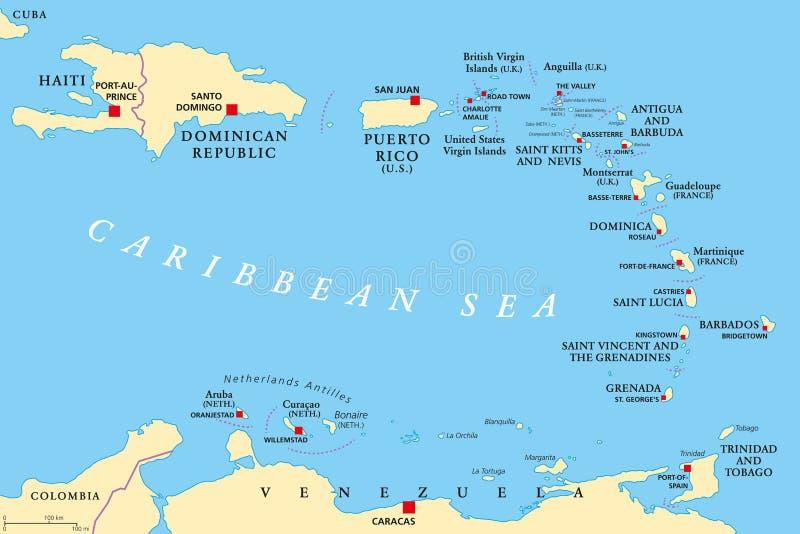 Mapa político de Lesser Antilles ilustración del vector