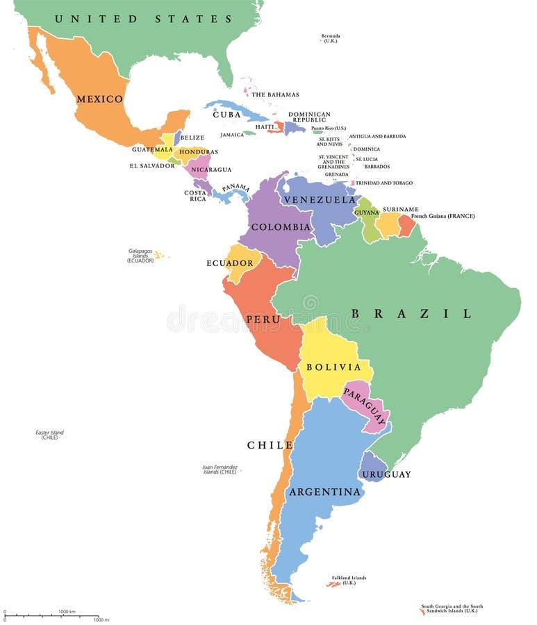 Mapa político de los solos estados de América latina ilustración del vector