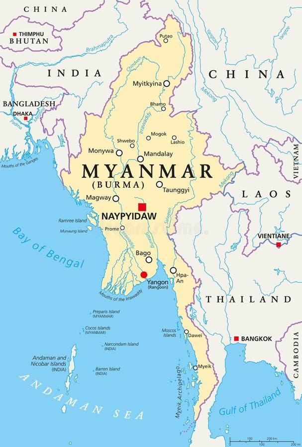Mapa político de Myanmar Birmania ilustración del vector