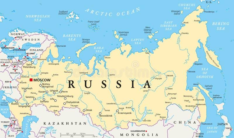 Mapa político de Rússia ilustração stock