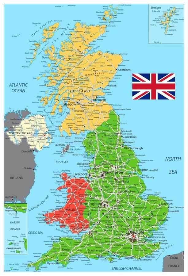 Mapa político de Reino Unido con los caminos ilustración del vector