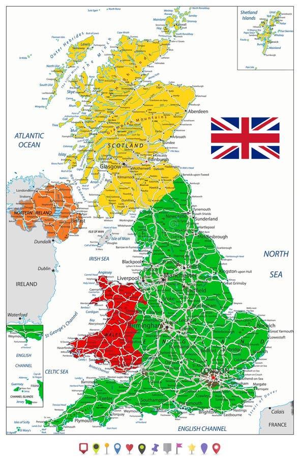 Mapa político de Reino Unido e indicadores planos del mapa libre illustration