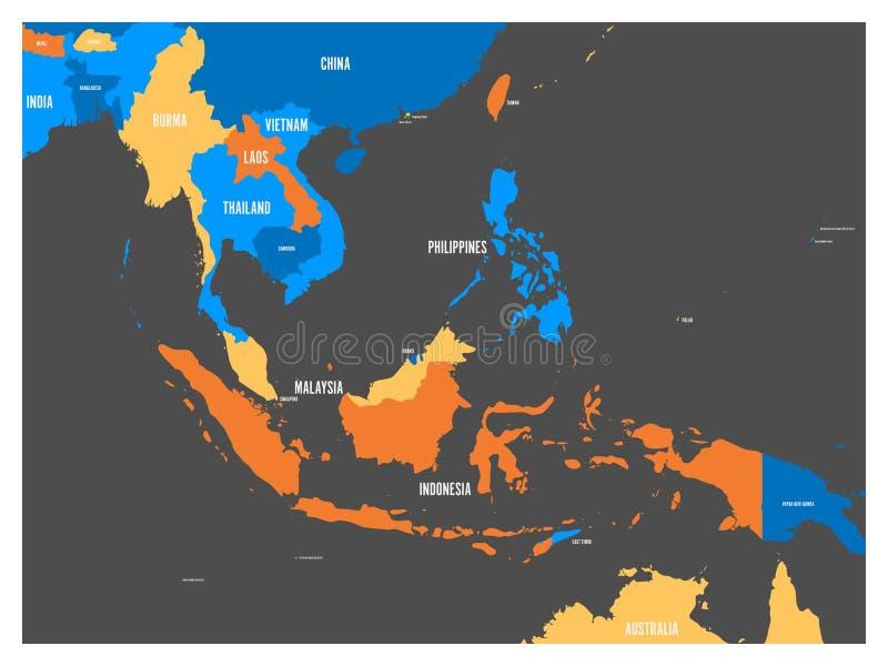 Mapa político de 3Sudeste Asiático em quatro cores com etiquetas brancas dos nomes de país Ilustração lisa simples do vetor ilustração stock