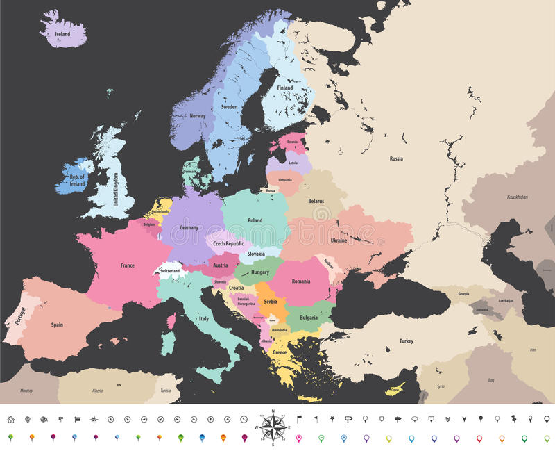 Mapa político del alto vector detallado de Europa con los iconos de la navegación de la ubicación stock de ilustración