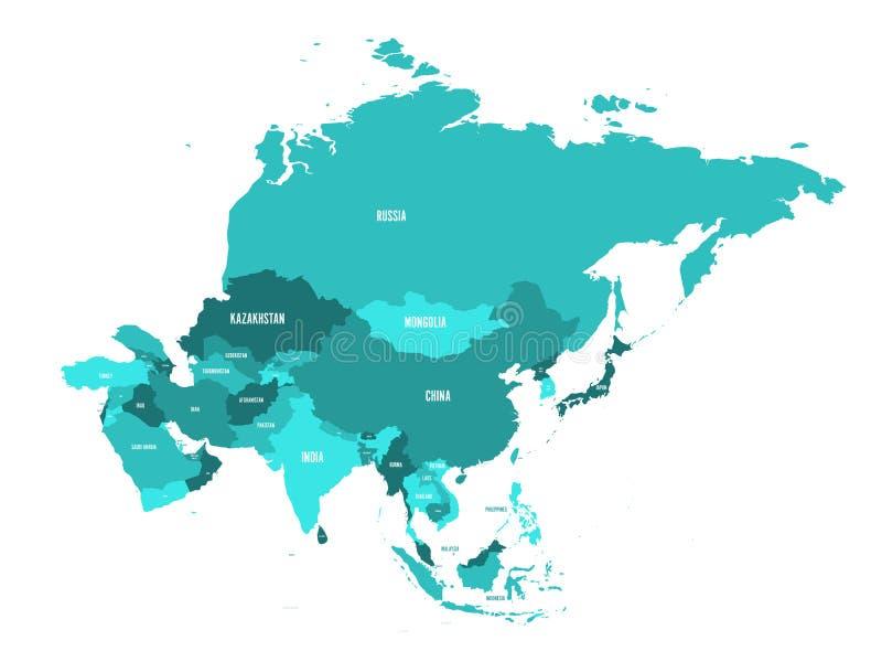 Mapa político del continente de Asia en sombras de azules turquesa Ilustración del vector ilustración del vector