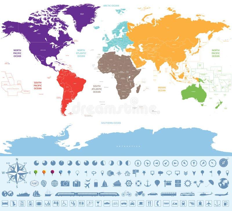 Mapa político del mundo coloreado por los continentes con muchos iconos y materia del viaje libre illustration