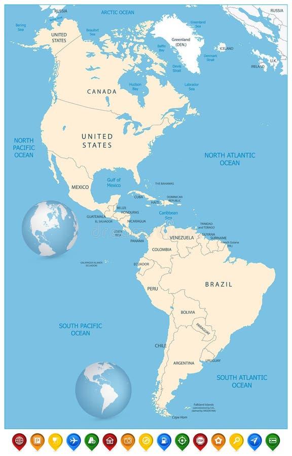 Mapa político del norte y de Suramérica y marcadores coloridos del mapa stock de ilustración