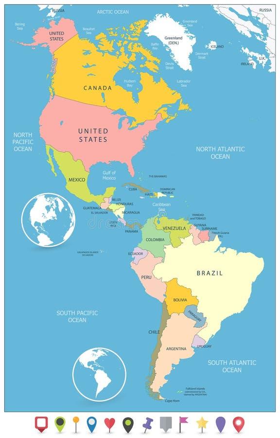Mapa político del norte y de Suramérica y marcadores planos del mapa stock de ilustración