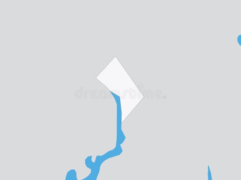 Mapa político detallado del estado federal de los E.E.U.U. del distrito de Columbia libre illustration
