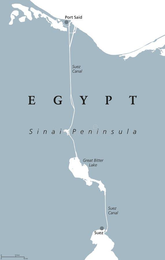 Mapa político do canal de Suez