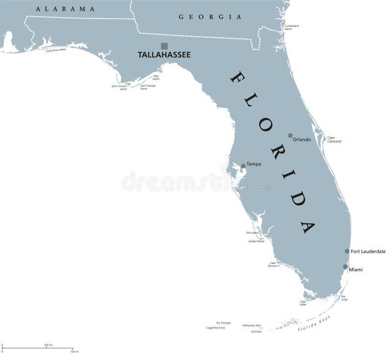 Mapa político do Estados Unidos de Florida ilustração royalty free