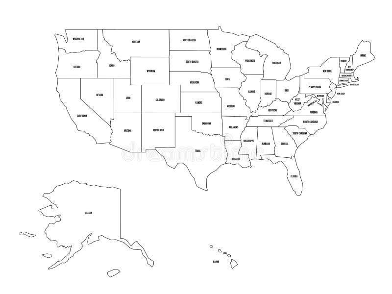 Mapa político do Estados Unidos od América, EUA Mapa preto liso simples do vetor do esboço com etiquetas pretas do nome do estado ilustração do vetor