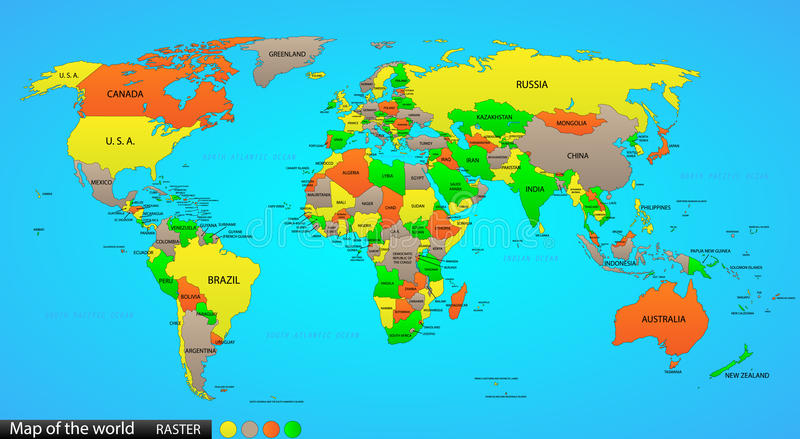 Mapa político do mundo ilustração stock