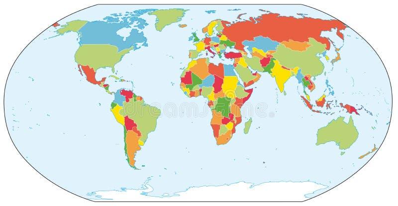 Mapa político do mundo real ilustração do vetor