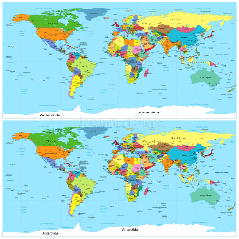 Mapa político do mundo. Vetor. Distorcido para o uso nos editores 3D. ilustração stock
