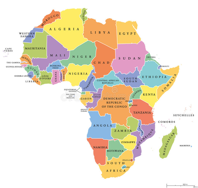 Mapa político dos únicos estados de África ilustração stock