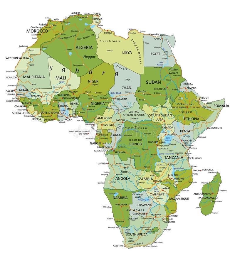 Mapa político editable altamente detallado con capas separadas África libre illustration